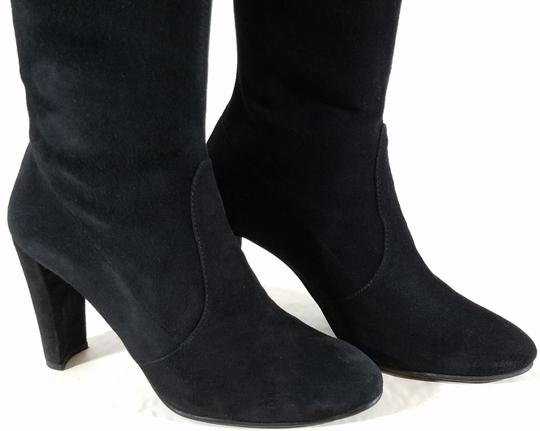 Stuart Weitzman Over The Knee Stretch Flexible Rubber Sole Tie Made In Spain Black Suede Boots