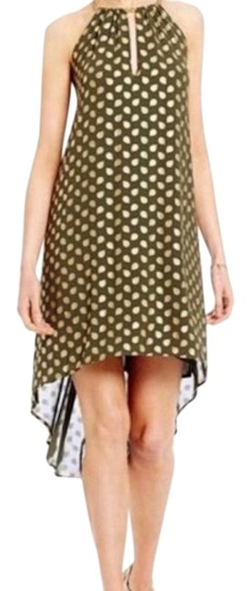 Item - Green and Gold Bergalia Chain-trim Printed Foil Trapeze Mid-length Cocktail Dress Size 2 (XS)