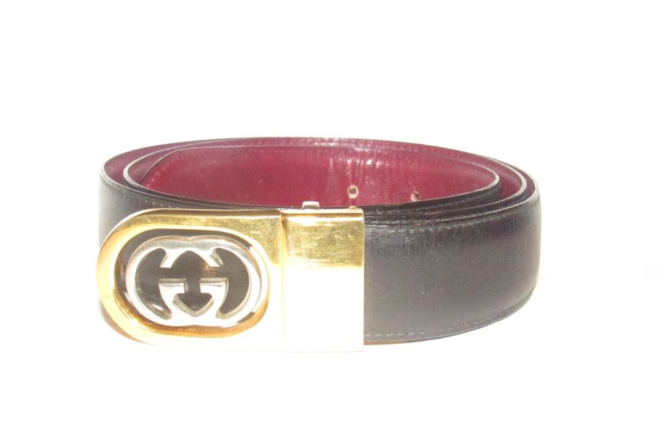 57075a842 Gucci Burgundy and Black Leather with Two-tone Gg Logo Buckle ...