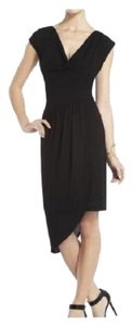 BCBGMAXAZRIA Asymmetrical Cowl Neck Draped Hi-low Dress