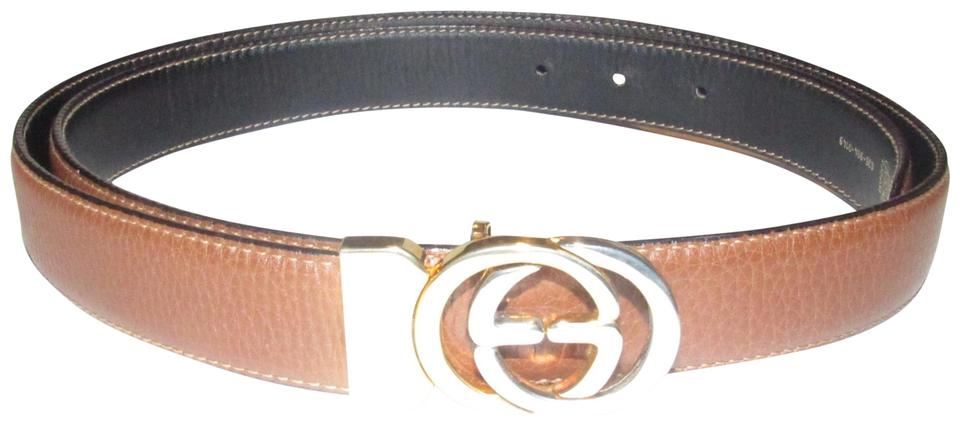 10f689f92 Gucci Brown and Black Leather with Two-tone Gg Logo Buckle Vintage ...