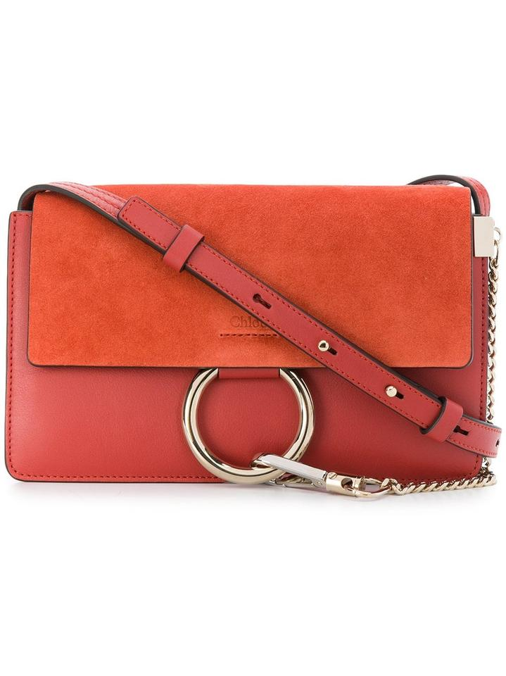Chloé Faye Small Shoulder Orange Red Suede Leather Cross Body Bag ... 42a0974ed193