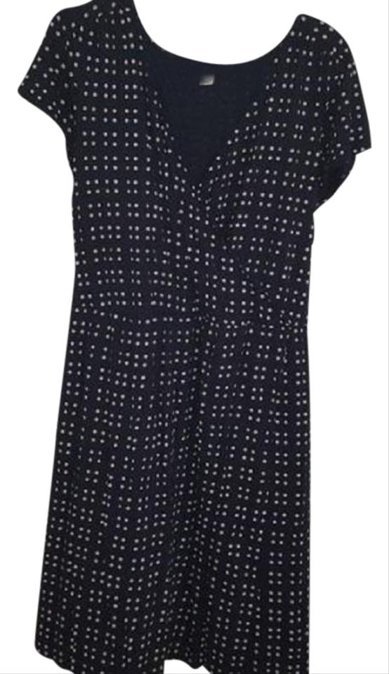Old Navy Navy/White Polka Dot Wrap Tie Mid-length Short Casual Dress ...