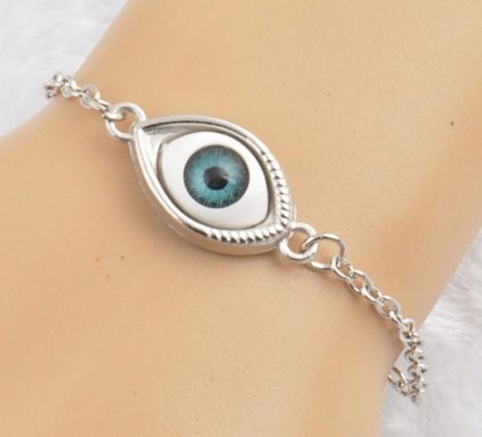Evil Eyes Unique One Blue Evil Eyes Charm Silver Chain Bracelets Fashion Lucky Gift Image 1