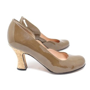 Anyi Lu Leather Taupe Brown Pumps