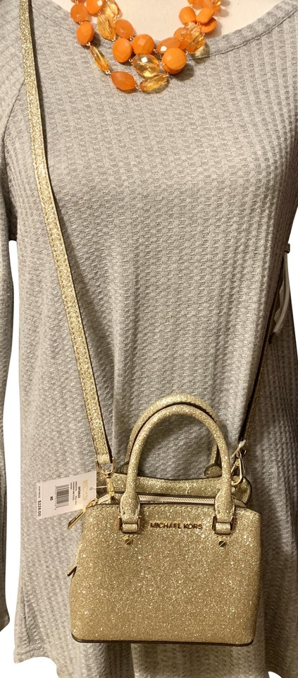 a91c6ff019cc9 Michael Kors Savannah Mini Satchel Comes W Gift Bag-pale Gold Leather Cross  Body Bag