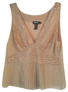 DKNY Silk Sequins Flesh Tone Size 8 Top Nude Blush