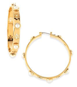 Tory Burch NEW TORY BURCH HOLIDAY GOLD PEARL HOOP HOOPS EARRINGS DUST BAG NWT