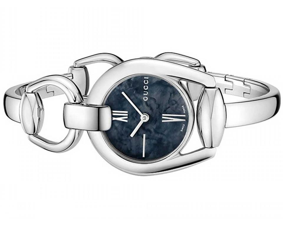 6f9778578f0 Gucci Silver Stainless Horsebit Black Mother Of Pearl Dial Ya139503 ...