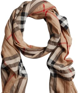 Burberry Giant Check Wool and Silk Gauze Scarf