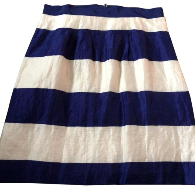 Item - Bright Blue/Ivory 41% Linen/15% Nylon Skirt Size 8 (M, 29, 30)