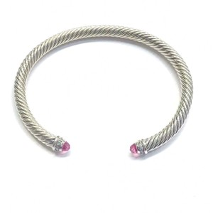 "David Yurman GORGEOUS!! David Yurman Cable Bangle Diamond and Sterling Silver with Pink Tourmaline Diamond Sterling Silver Pink Tourmaline Size: Medium 7.25"" 100% Authentic Guaranteed!!! Comes with Original David Yurman Pouch!!!"