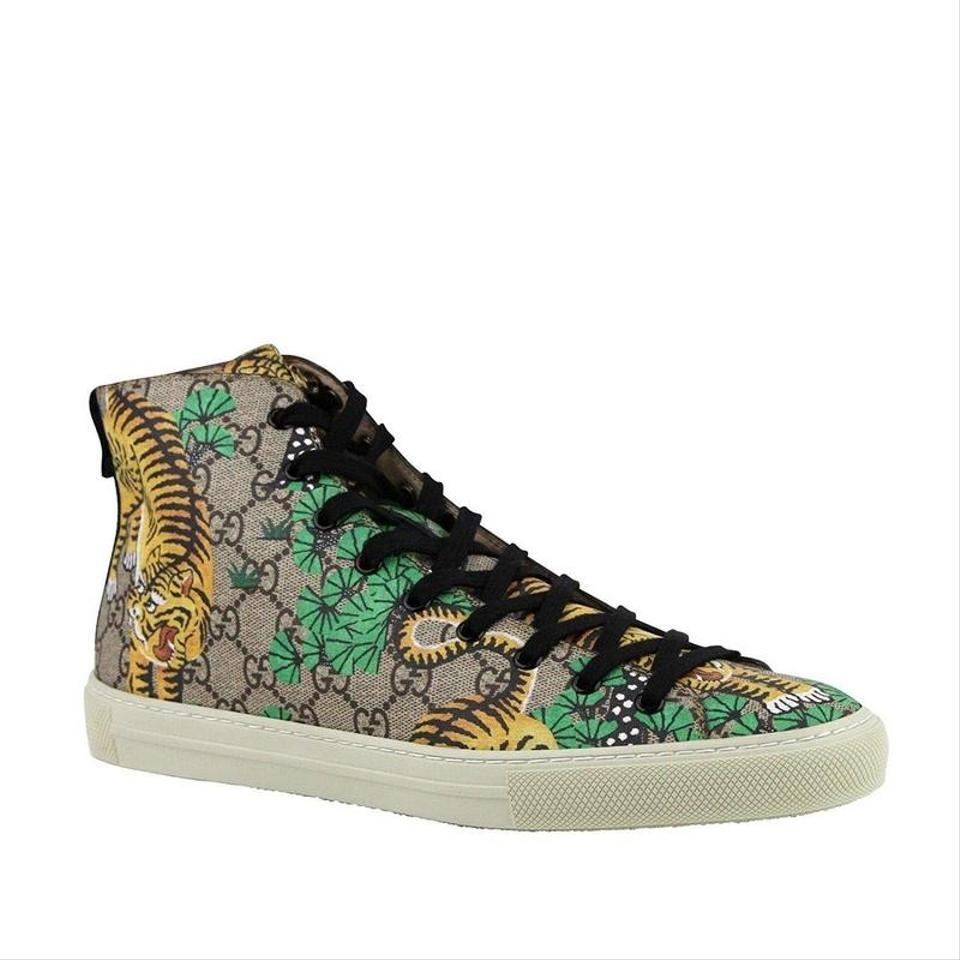 39b44d8ac36 Gucci Beige Tiger Gg Supreme Canvas Hi Top Sneakers 451212 8683 Shoes Image  7. 12345678