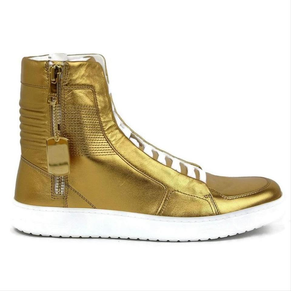 d0f34841347e Gucci gold leather limited edition high top sneakers shoes image jpg  960x960 Yellow gucci boots
