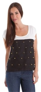 Embellished Spike Studs T Shirt Black/White
