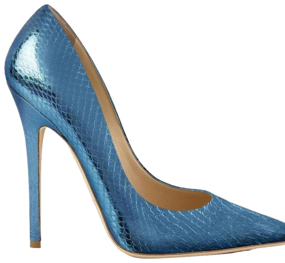 1baff0ff12e6 Jimmy Choo Pealized Blue Limited Edition Pumps Size US 9 Regular (M ...
