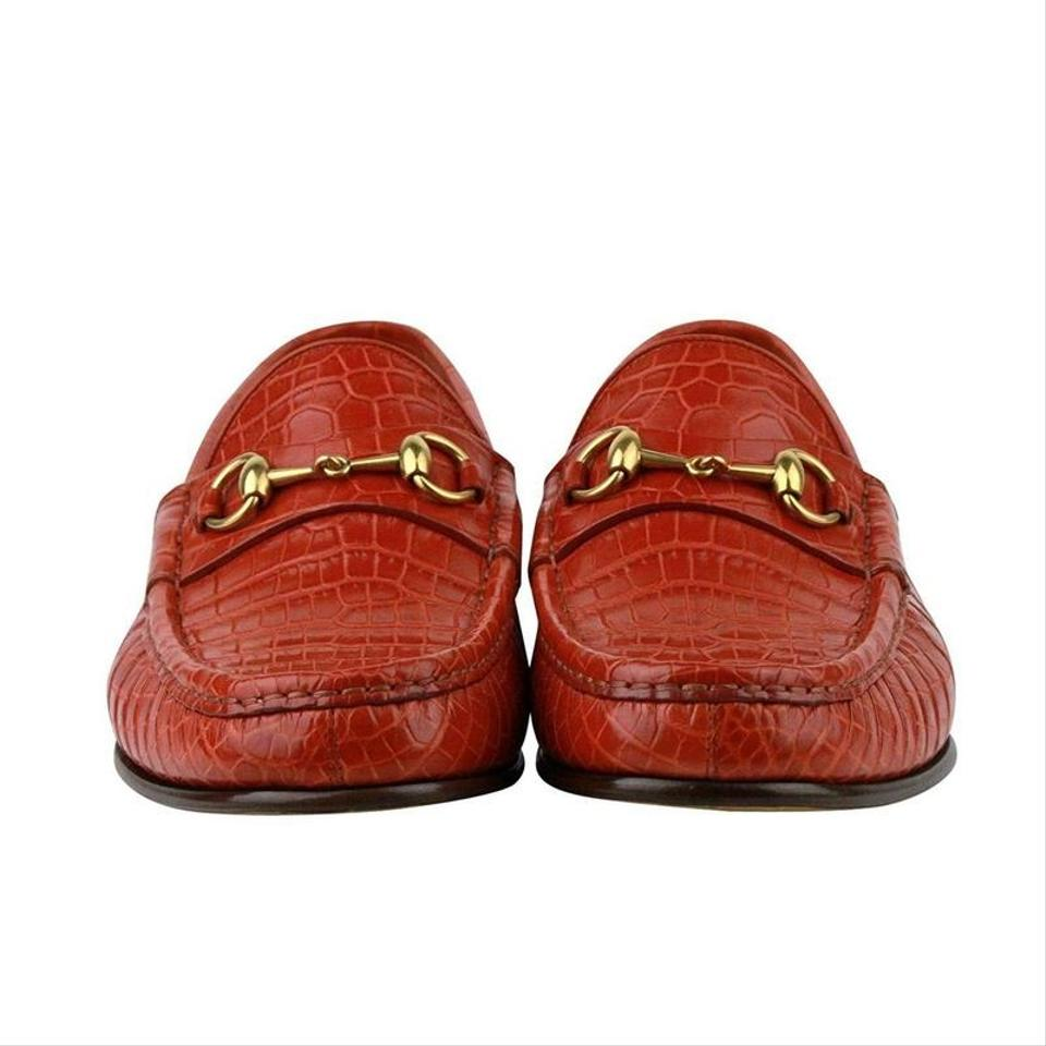 896f8033991 Gucci Orange Horsebit Gold Red Crocodile Leather Loafer 307929-ec200 Shoes  Image 7. 12345678