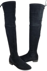 Stuart Weitzman Over The Knee Stretch Pull On Black Suede Boots