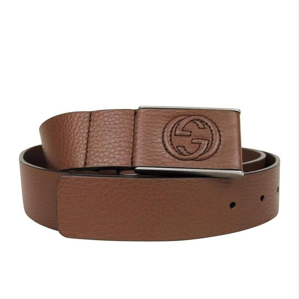 8e1c7476f Gucci Brown Square Gg Leather Belt Buckle 368188-2138 (95 / 38) Groomsman.  1234