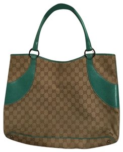 Gucci Vintage Leather Satchel in Turquoise and Brown