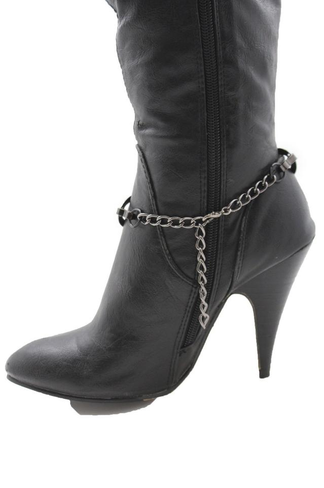 Women Boot Bracelet Metal Chains Pewter Bow Oval Anklet Western Bling Shoe Charm