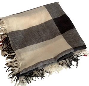 Burberry Burberry Ivory Check Merino Wool Square Scarf/Wrap