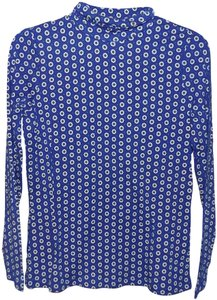 Lands' End Turtle Neck Thin Fitted T Shirt Blue