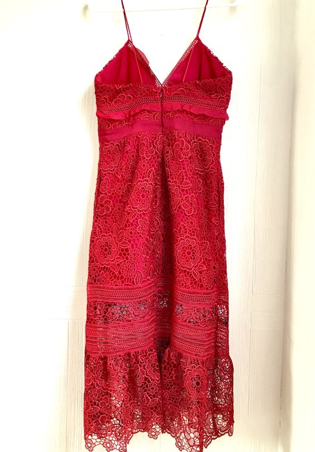 Self Portrait Red Ruffled Lace Floral Mid Length Cocktail Dress Size 6 S 78 Off Retail