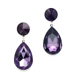 Pear-shaped Drop Bridesmaid Earrings - Purple