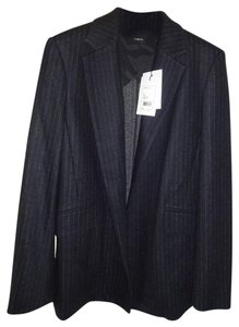 Theory Oversized Fit Superb Tailoring Elegant Pinstripe Wool Blend Open Front Black Blazer