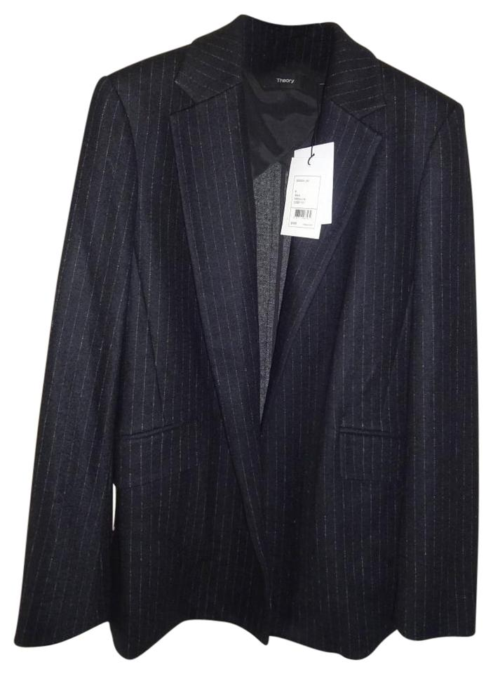 edbd935d1b Theory Oversized Fit Superb Tailoring Elegant Pinstripe Wool Blend Open  Front Black Blazer Image 0 ...