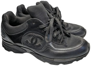 Chanel Suede Trainers Sneakers Black Athletic
