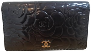 Chanel CHANEL Patent Camellia Large Wallet.