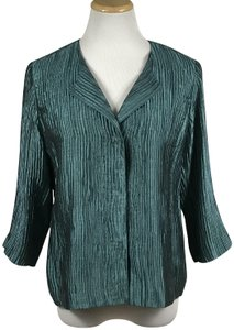 Eileen Fisher Silk Lined Pockets Top Teal