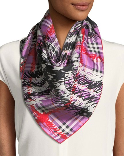 Burberry $420 Burberry Silk Twill Scribble Vintage Check Scarf Image 2