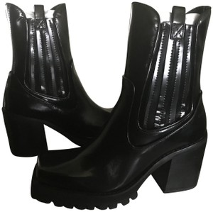 Jeffrey Campbell Patent Ankle Chunky Heel Leather Black Boots