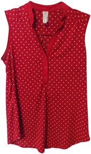 Perseption Polka Dot Patriotic Top Red and White