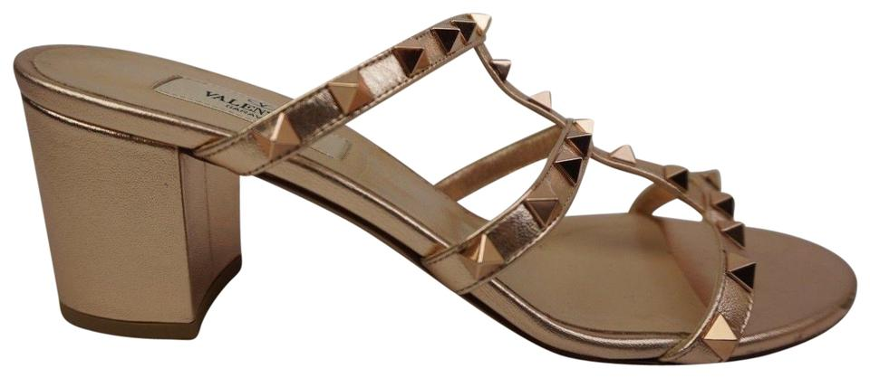 55e0668b98d2 Valentino Copper Rockstud Block Heel Slide Rose Gold Sandals Size EU ...
