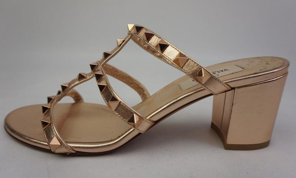 07fbfbedc5b8 Valentino Copper Rockstud Block Heel Slide Rose Gold Sandals Size EU 38  (Approx. US 8) Regular (M