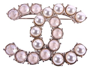 Chanel Brand New Full Packaging Gold/Pearl/Crystal CC Brooch