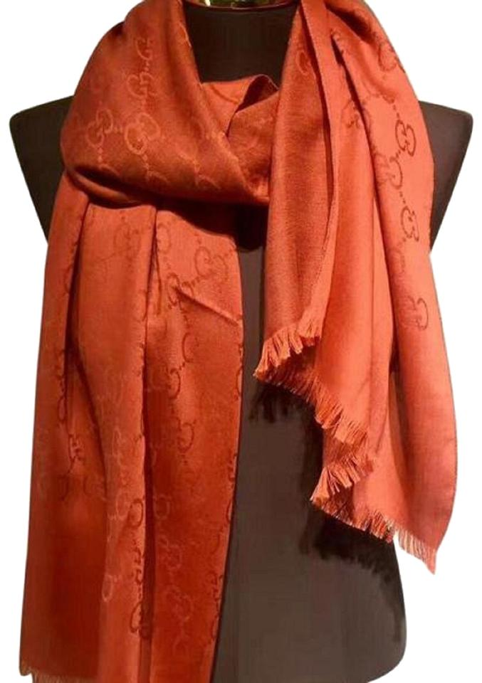 1d71d47630846 Gucci Orange Unisex Wool Cashmere and Silk Lightweight Gg Logo Fashion Scarf  Wrap