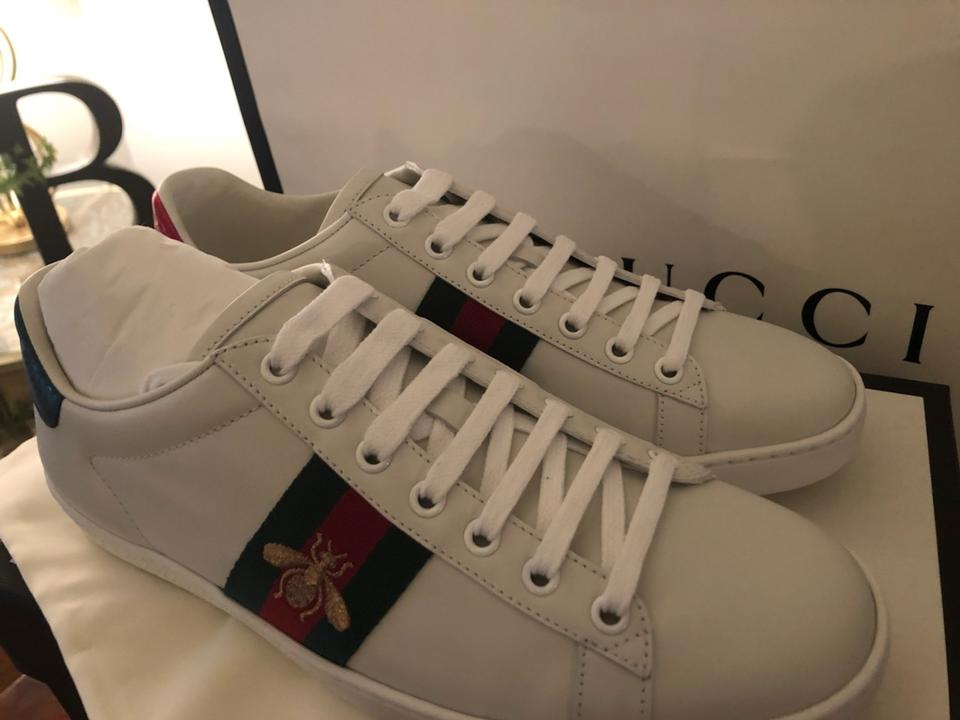 1600b6969ca Gucci Unused White Green and Red Stripe Ace with Bee Sneakers Size ...
