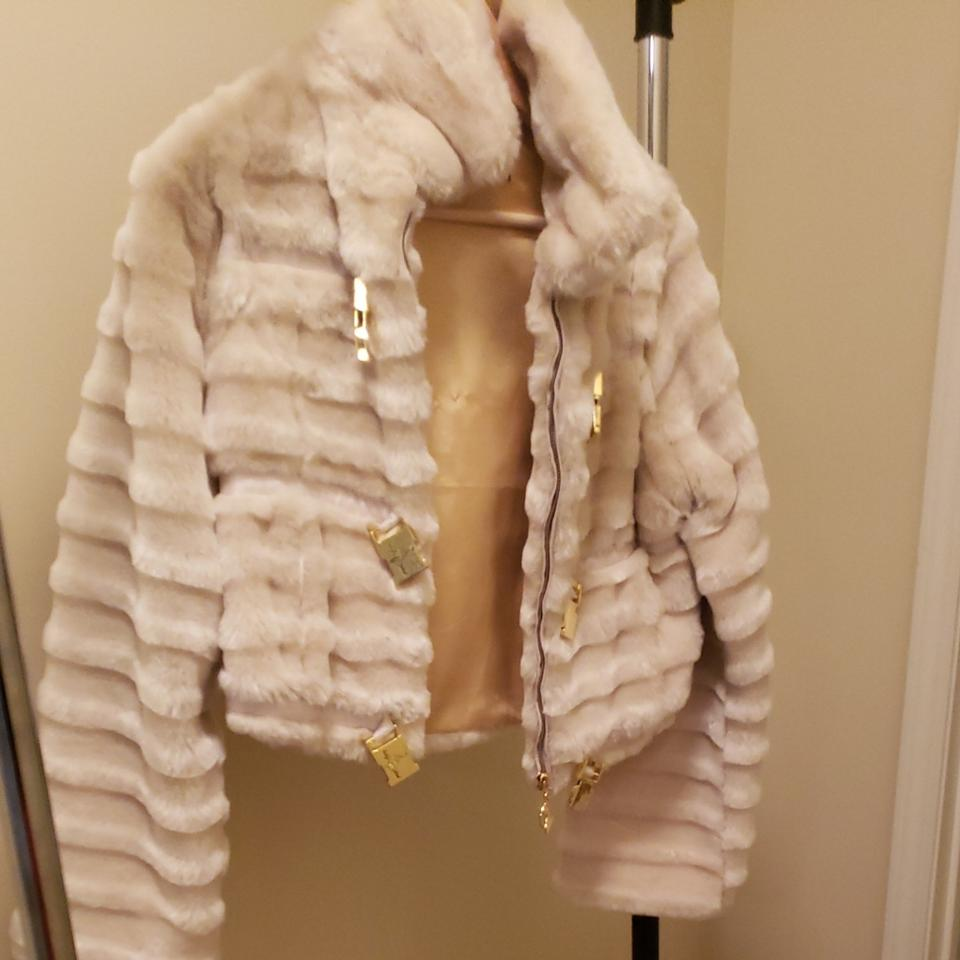84ef1b2ee Baby Phat Cream with Gold Clasp Faux Fur. Coat Size 8 (M) - Tradesy