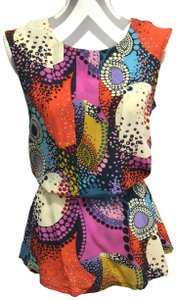 Trinity Silk Colorful Sleeveless Top Multi