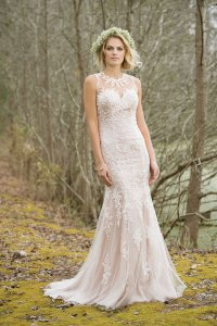 Lillian West Ivy Lace/Peach Lace/Tulle 6464 Casual Wedding Dress Size 12 (L)