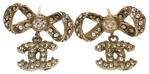 Chanel Crystal CC Bow Dangle 13S Earrings