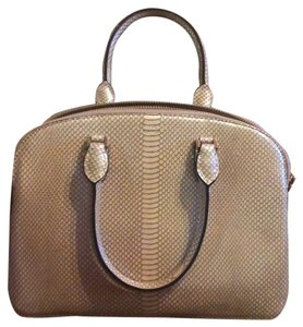 Henri Bendel Snakeskin Satin Pockets Like New Satchel in Metallic gold