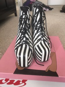 Jeffrey Campbell Black and White Stripe Boots