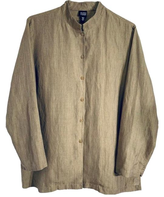 Item - Tan Long Button Front Mandarin Tunic Size 14 (L)