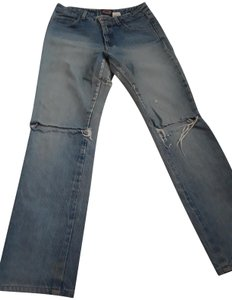 Paris Blues Wash Torn Hi Rise Straight Leg Jeans-Light Wash